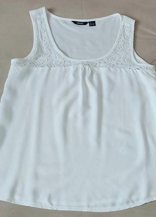 Женская блуза топ легкая с кружевом белая esmara германия р. 42-44
