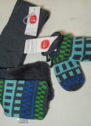 Набір в'язаний шарф+рукавиці на зріст 92/98.