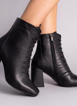 Ботильоны женские кожаные черные на устойчивом каблуке