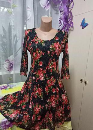 Гипюровое платье, расклешонное