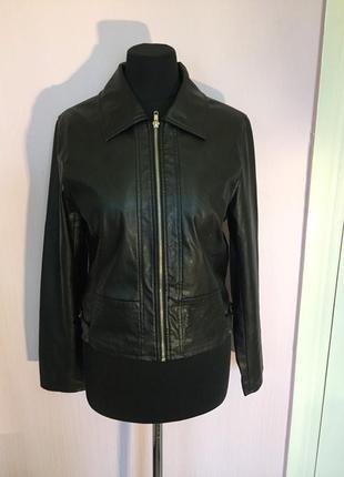 Кожаная куртка косуха, эко кожа, на молнии, жакет кожа