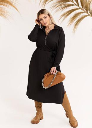 Чёрное платье оверсайз с поясом