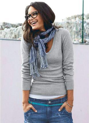 Базовый джемпер/свитер серого цвета меланж