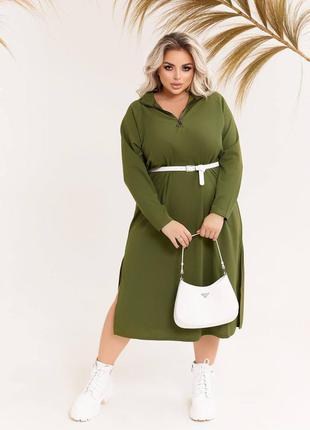 Платье хаки в стиле оверсайз