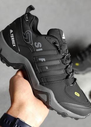 Осенние мужские черно-белые с серым кроссовки нубук adidas terrex 465 🆕адидас терекс