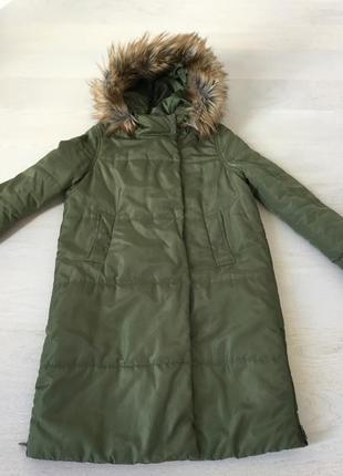 Пальто тёплое зимнее с капюшоном
