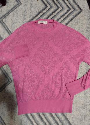 Кофта свитер для барби, розовый с люрексовым узором
