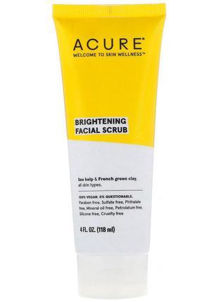 Скраб для лица осветляющий acure, brilliantly brightening, facial scrub, 118 мл