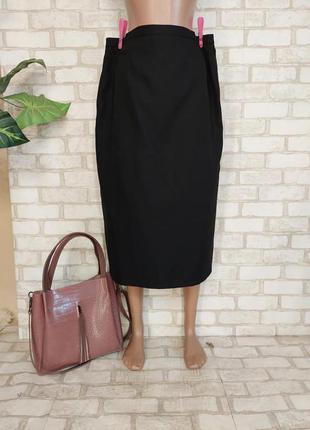 Фирменная marks & spenser базовая юбка миди карандаш в черном цвете, размер хл