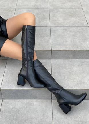 Сапоги на каблуке 8 см в чёрной коже с 37 по 40 размер