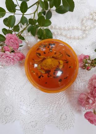 Шкатулка пудреница краб ссср сочинская сувенирная фабрика бакелит янтарная эпоксидная смола