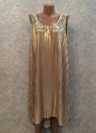 Платье  золотистое трапеция с удлиненной спинкой размер 12-14  h&m