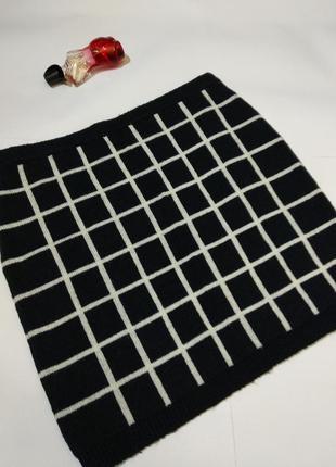 Теплая вязаная юбка карандаш в клетку 18/52-54 размера