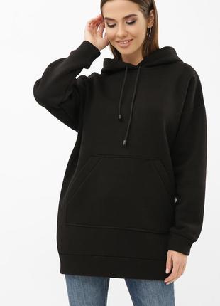Черный свитшот теплый- зима- тринитка с начесом