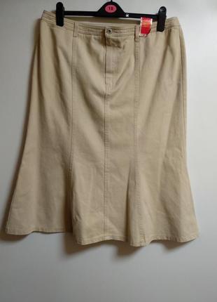 Новая плотная джинсовая бежевая юбка 18/52-54 размера