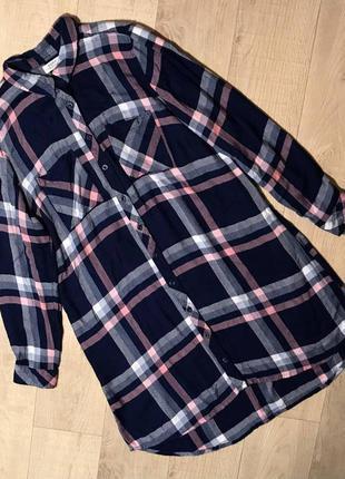 Стильная удлиненная рубашка платье в клетку 100% вискоза