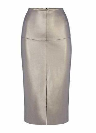 Дизайнерская кожаная юбка серебристый металлик с разрезом 14/48-50 размера