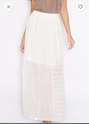 Длинная белая юбка zara