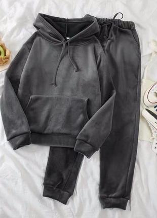 Велюровый спортивный костюм кофта худи толстовка свитшот с капюшоном с карманом кенгуру штаны брюки на резинке со шнуром