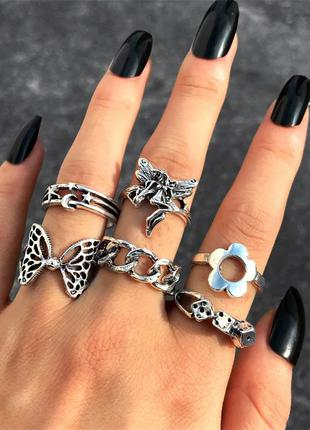 Набор колец 6 шт винтажные кольца в стиле панк рок гот