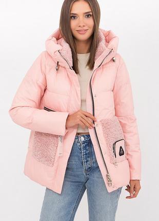 Зимняя пудровая куртка с капюшоном