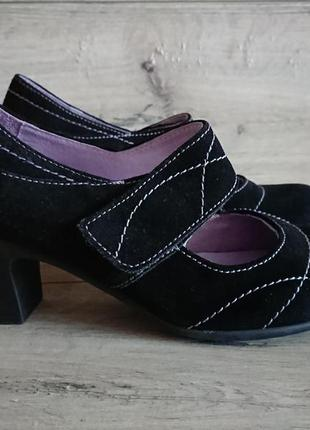 Шикарные туфли на липучке замш кожа moshulu 39 р испания 25 cm