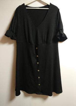 Стрейч платье в рубчик трендовые пуговички 24/58-60 размера