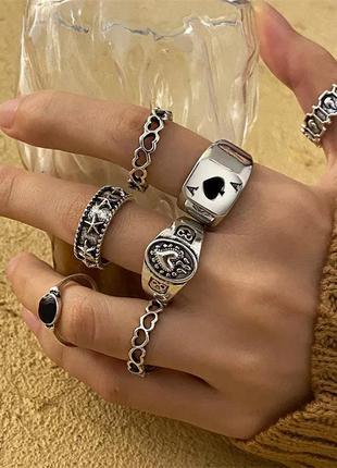 Набор колец унисекс 7 шт винтажные кольца в стиле панк рок хип-хоп гот