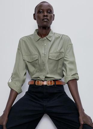 Рубашка зеленая хаки на пуговицах с регулируемыми рукавами и карманами zara