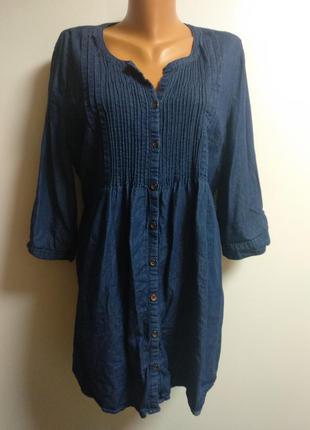 Джинсовая удлиненная рубашка 18/52-54 размера