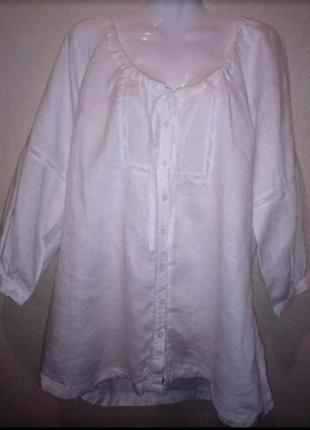 🌺 🌿 🍃белая  рубашка /блуза батал натуральная ткань 🌺 🌿 🍃