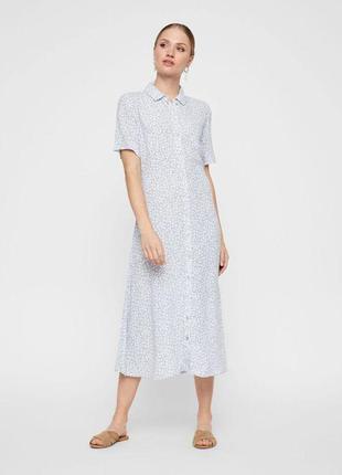 Голубое платье в цветочный принт zara