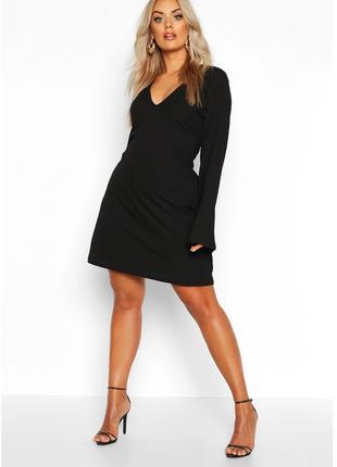 Платье в рубчик рукав волан 16/50-52 размера