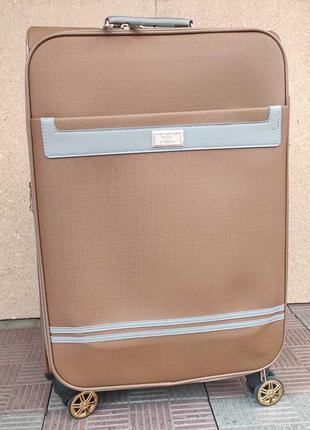 Средний чемодан эко кожа коричневый