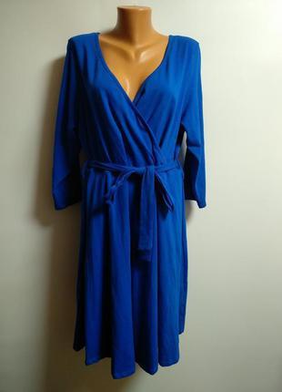Платье цвета кобальт грудь на запах 24/58-60 размера