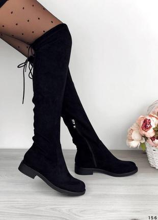 Черные ботфорты высокие женские ботфорты на низком ходу