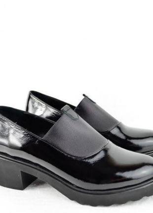 Кожаные лаковые туфли р.36,37,40