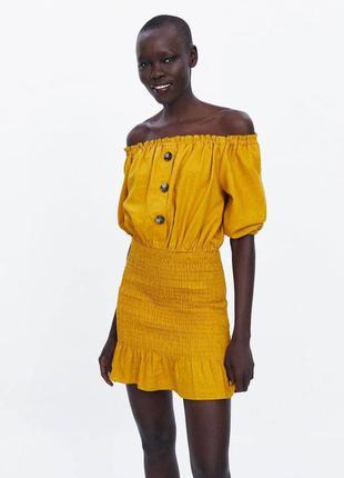 Горчичное желтое платье zara