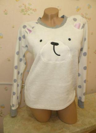 Симпатичная махровая-флисовая кофточка с мишкой свитер свитерок пижама