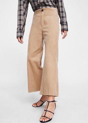 Вельветовые бежевые кюлоты брюки zara