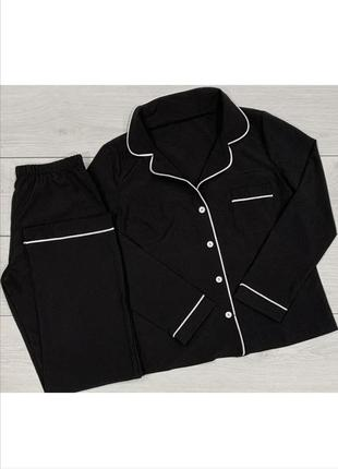 Черная пижама с длинным рукавом рубашка на пуговицах и штаны піжама на ґудзиках