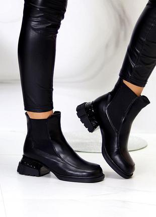 """Ботинки """"silvia"""" женские черный экокожа экомех черевики жіночі чорний екокожа екомех"""