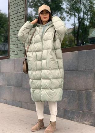 Теплая длинная куртка пальто пуховик оверсайз плащевка канада + силикон 200 + подкладка