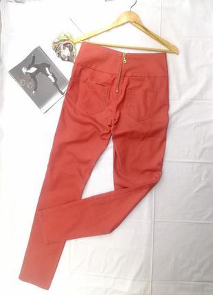 Штаны джинсы кирпичного цвета молния сзади высокая посадка pieces