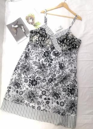 Черное белое платье сарафан цветок котон большой размер evans