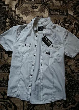 Фірмова англійська бавовняна рубашка сорочка cedarwood state,нова з бірками,розмір s-m.