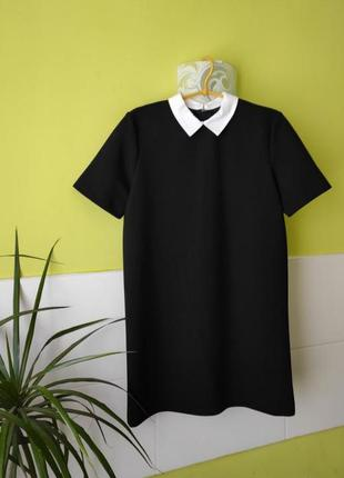 Чёрное платье прямого кроя с белым воротничком от zara