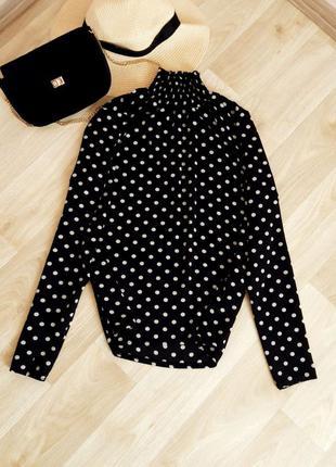 Блузка кофточка футболка рубашка майка горошек чёрный белый гольф водолазка