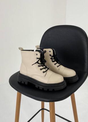 Стильные бежевые ботинки на шнуровке 🔥