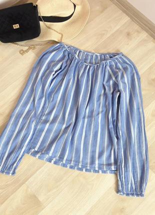 Хлопковая рубашка блузка кофточка полоска zara h&m bershka primark asos next mango